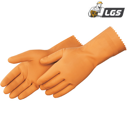 Liberty Glove Orange unsupported canners latex gloves - #2887I