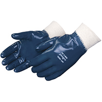 Liberty Glove Smooth finish blue nitrile glove with knit wrist - #9473SP
